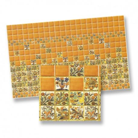 1/24th scale Orange and Floral Wall Tiles