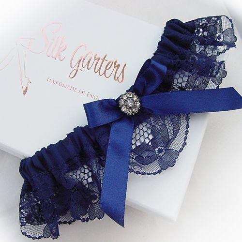 Dark Navy Blue Wedding Garter With Diamante Crystal