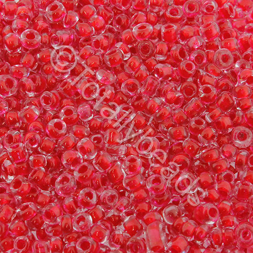 Seed Beads Colour Lined  Red - Size 8