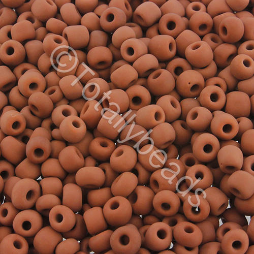 Seed Beads Opaque Frosted  Brown - Size 6