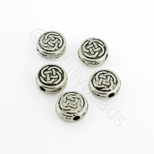 Tibetan Silver Bead - Celtic Disc 7mm