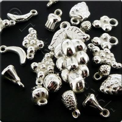 Acrylic Charms - Silver - Fruits