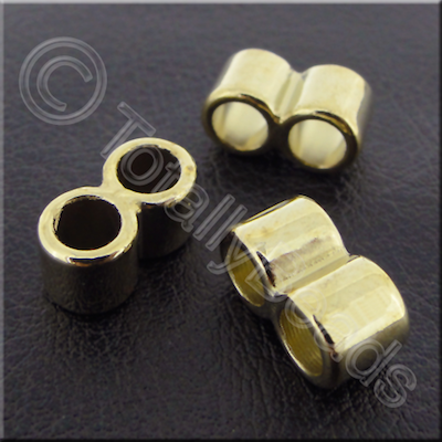 Acrylic Twin Barrel Bead 14mm - Antique Gold 40pcs