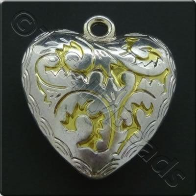 Metalised Silver Heart 42x45x13mm