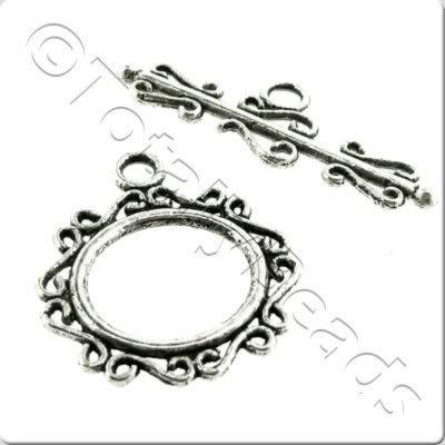 Tibetan Silver Toggle - Fancy Oval 22mm A5437