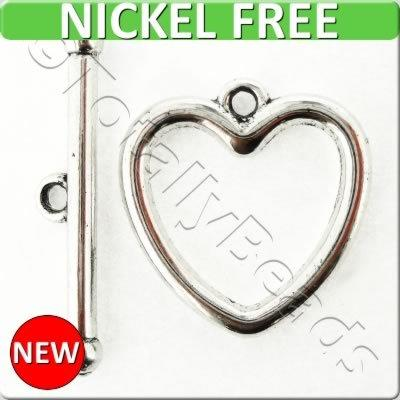 Antique Silver Metal Toggle - Heart 20mm 4 sets - A15256