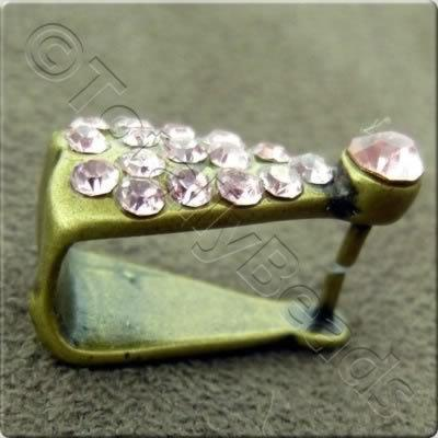 Matte Gold and Pink Diamante Bail - 14mm