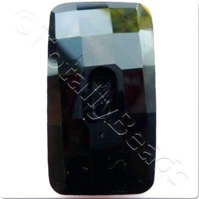 Crystal Button - Rectangle 30mm - Jet Black