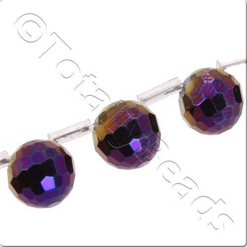 Crystal 96 Facet Round 9mm Off Centre - Purple Iris