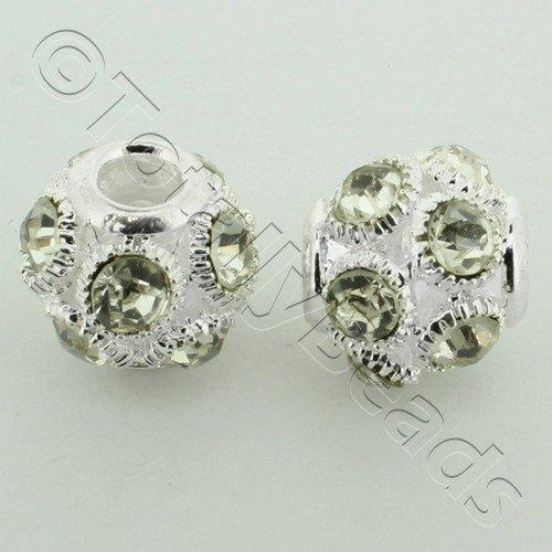 Large Hole Round Rhinestone Spacer Bead 14mm - Clear