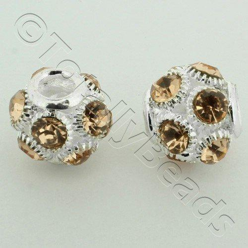 Large Hole Round Rhinestone Spacer Bead 14mm - Peach
