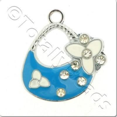 Enamel Charm - Large Handbag - Blue