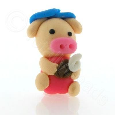 Fimo Doll Bead - Pig in Pink