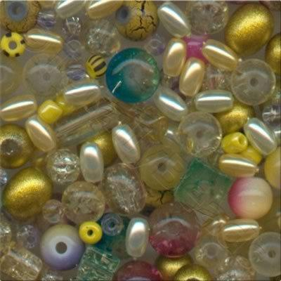 Mixed Glass Beads - Yellow - Tube