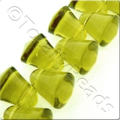 Glass Bell - 10x9mm - Light Olive - 37pcs