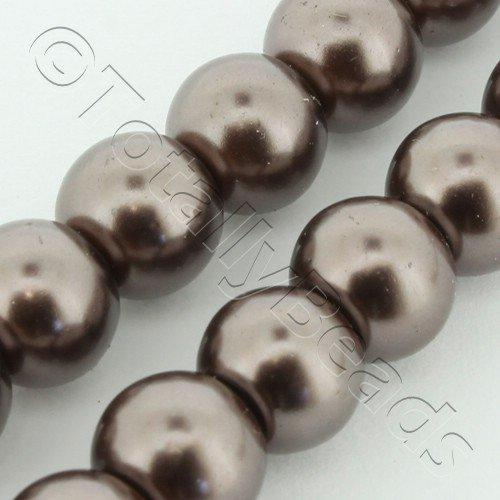Glass Pearl Round 8mm Coffee Grade B