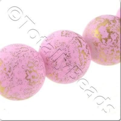 Gold Shimmer Glass Beads Round - Matt Pink