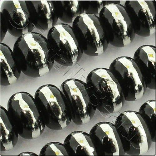 Half Silver 6x4mm Rondelle Glass Bead - Black