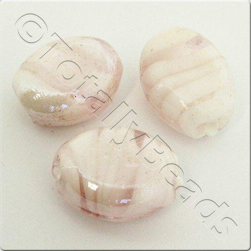 Lampwork Glass Bead Oval 22mm - Light Pink Swirl Luster