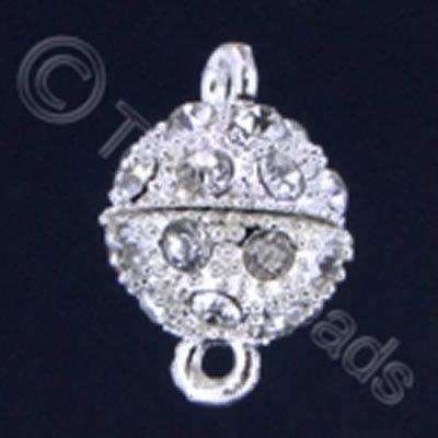 Magnetic Clasp- Spotted Round 12mm Crystals - Silver Plate