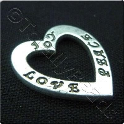 Tibetan Silver Message Heart Ring - Joy Love Peace