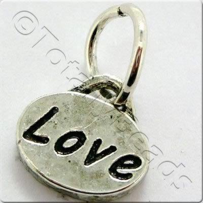 Tibetan Silver Message Tag/Charm - Love