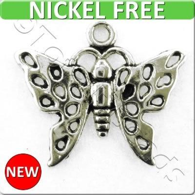 Antique Silver Metal Charm - Butterfly 17x20mm 15pcs - A13786