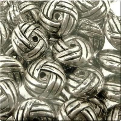 Acrylic Antique Silver Bead - 10mm Patterned Rondelle