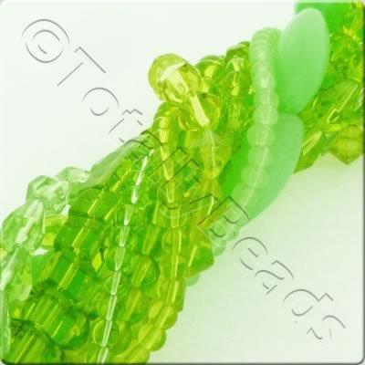 12 Strings Glass Bead Mix - Light Greens