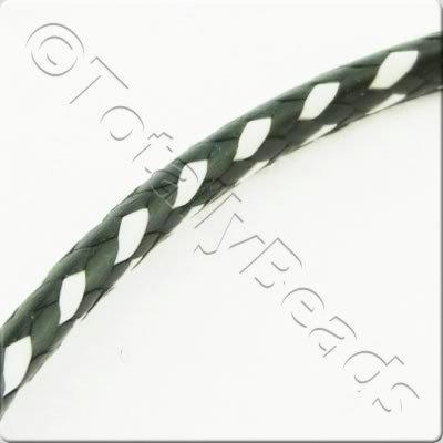 Plaited Wax Cord 2mm - Black and White