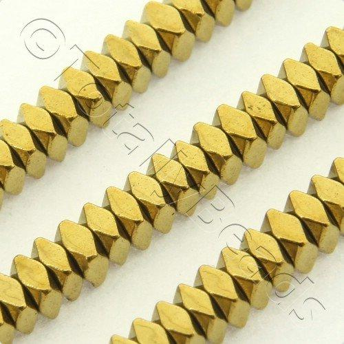 Hematite Facet Square 2x1mm - Gold Plated