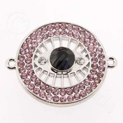 Metal Eye Connector 30mm - Pink Rhinestone