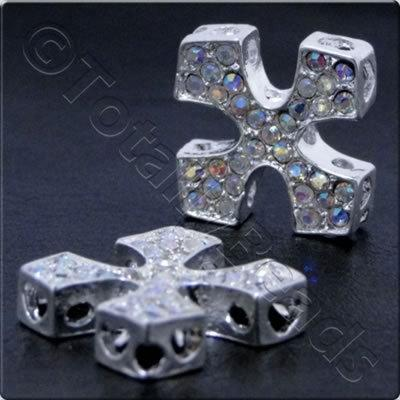 Rhinestone Connector - Square Cross 20mm - Silver and Crystal AB
