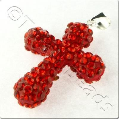 Shamballa Cross Pendant - 32x23mm - Red