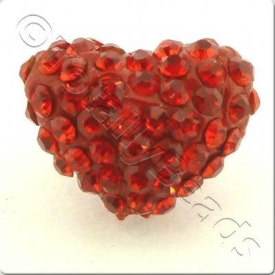 Shamballa Heart Bead - 20mm - Light Siam