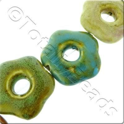 Ceramic Beads - Hollow Flower 40mm - Mixed