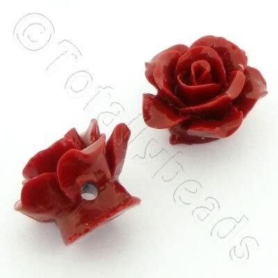Acrylic Rose 15mm 1 Row - Dark Red 4pcs