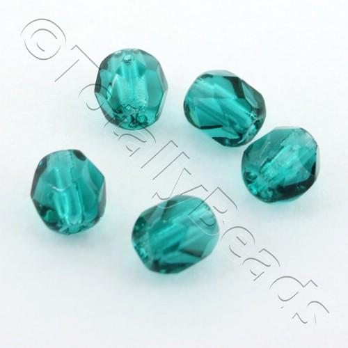 Czech Fire Polished 4mm Faceted - Teal - 100pcs