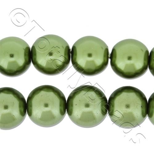 Glass Pearl Round Beads 10mm - Olive