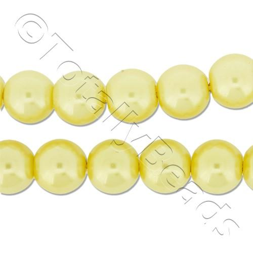Glass Pearl Round Beads 8mm - Lemon