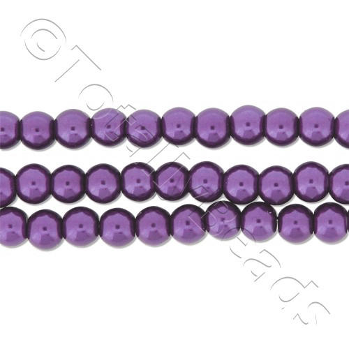 Glass Pearl Round Beads 4mm - Amethyst