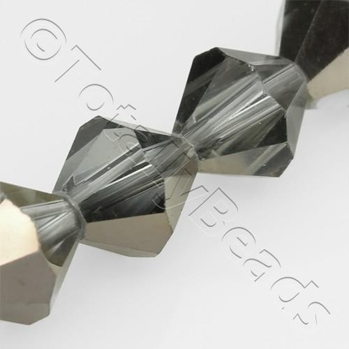 Crystal Bicone 10mm - Black Shadow 30pcs