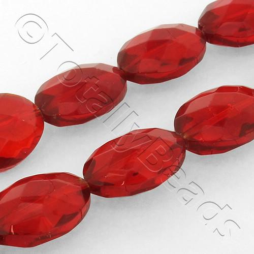 Faceted Oval 18mm Beads - Red