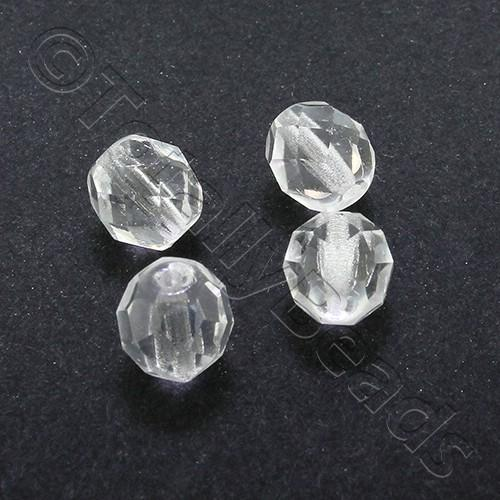 Czech Fire Polished 8mm Faceted - Crystal - 25pcs