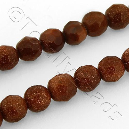 "Gold Sandstone Beads - Facet Round 6mm 16"" String"