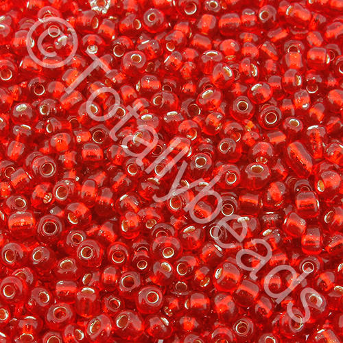 Seed Beads Silver Lined  Red - Size 8