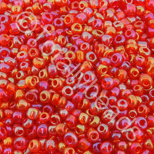 Seed Beads Transparent Rainbow  Red - Size 8