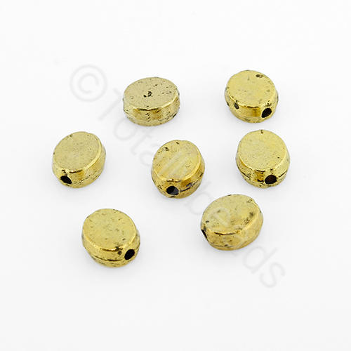 Tibetan Gold Bead - Flat Oval 6mm