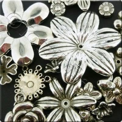 Acrylic Charms - Antique Silver - Flowers