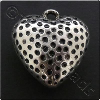 Metalised Antique Silver Heart 26x27x3mm - Spotted